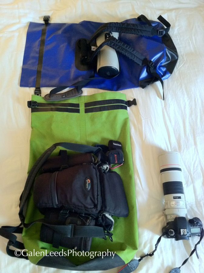 My usual gear for kayaking. I don't bring the camera bag with me, it is just there to give scale. My usual compliment of lenses is a 300mm IS, 70-200mm IS, and a 16-35mm f2.8 with one to two camera bodies