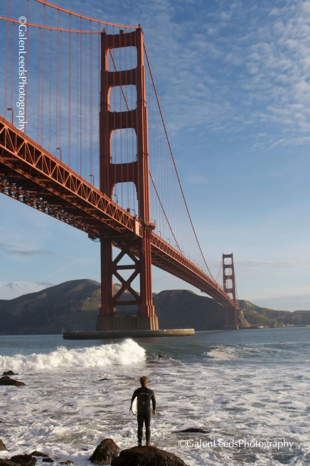 Standing under the Golden Gate, studying the waves