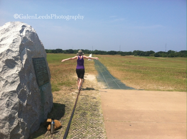 Re-enacting the very first flight of the Wright Brothers at their national monument in Kill Devil Hills, NC