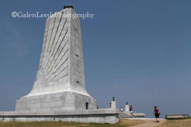The Wright Brothers' National Monument, NC- the very first powered flight occurred here.